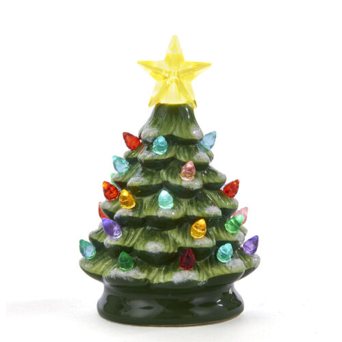 """Green Ceramic Christmas Tree Small 5.5"""" Tabletop Battery Operated LED New"""