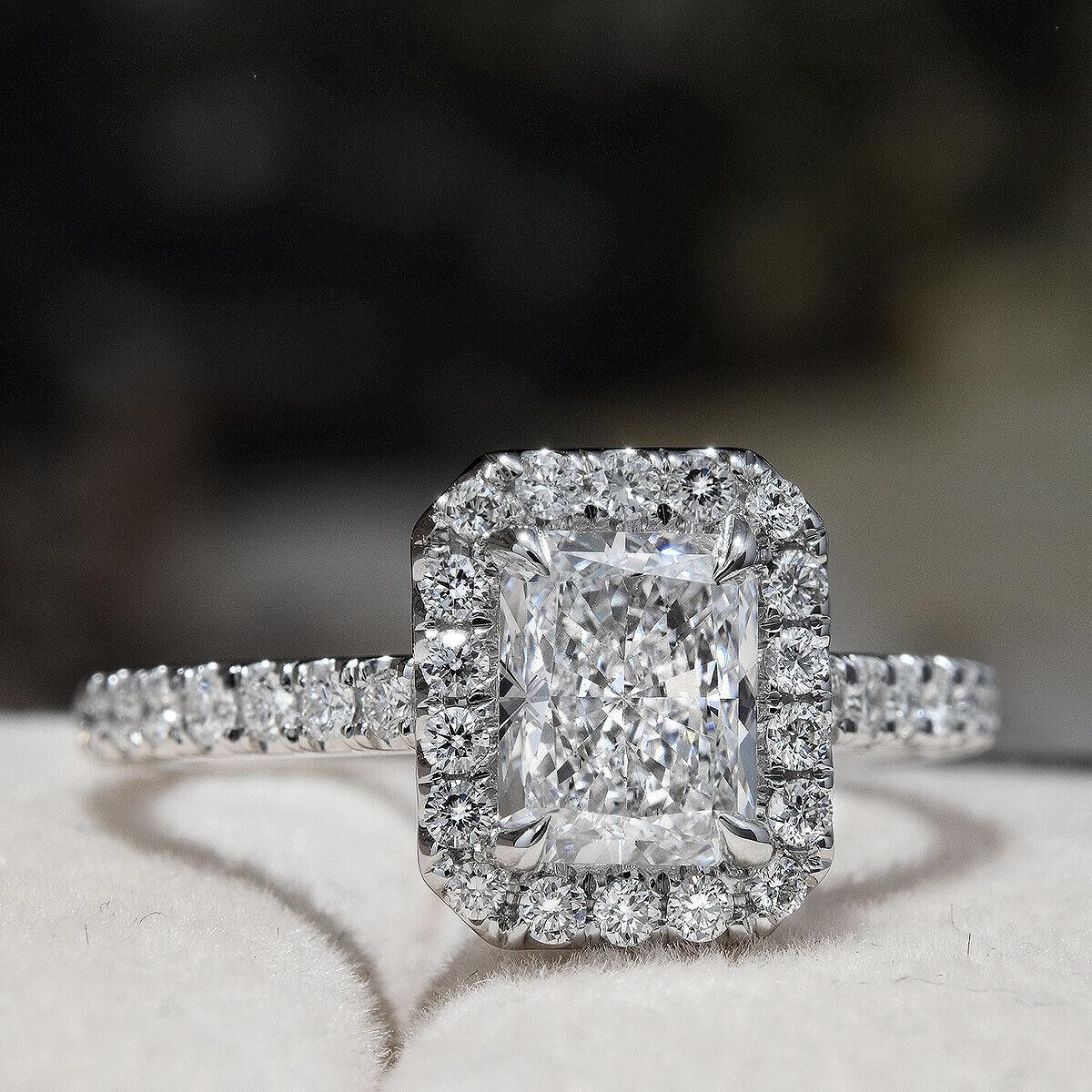 18K WG 1.80 Ctw Radiant Cut Diamond Eternity Halo Engagement Ring H,VS2 GIA 2