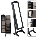 Lockable Mirrored Jewelry Cabinet Armoire Mirror Organizer Storage Box w/ Stand