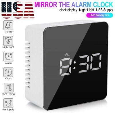 US Mirror LED Alarm Clock Snooze Night Lights Thermometer Digital Clock Lamp US