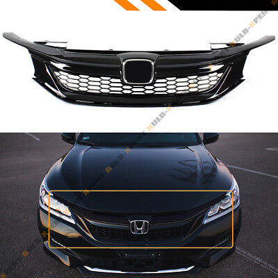 For 2016-17 9th Gen Honda Accord Sedan Gloss Black Out Sport Style Front Grille