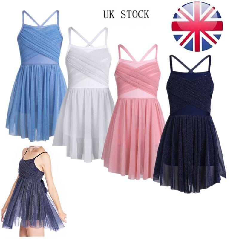UK Girls Glitter Lyrical Dance Dress Costume Leotard Mesh Latin Ballet Dancewear