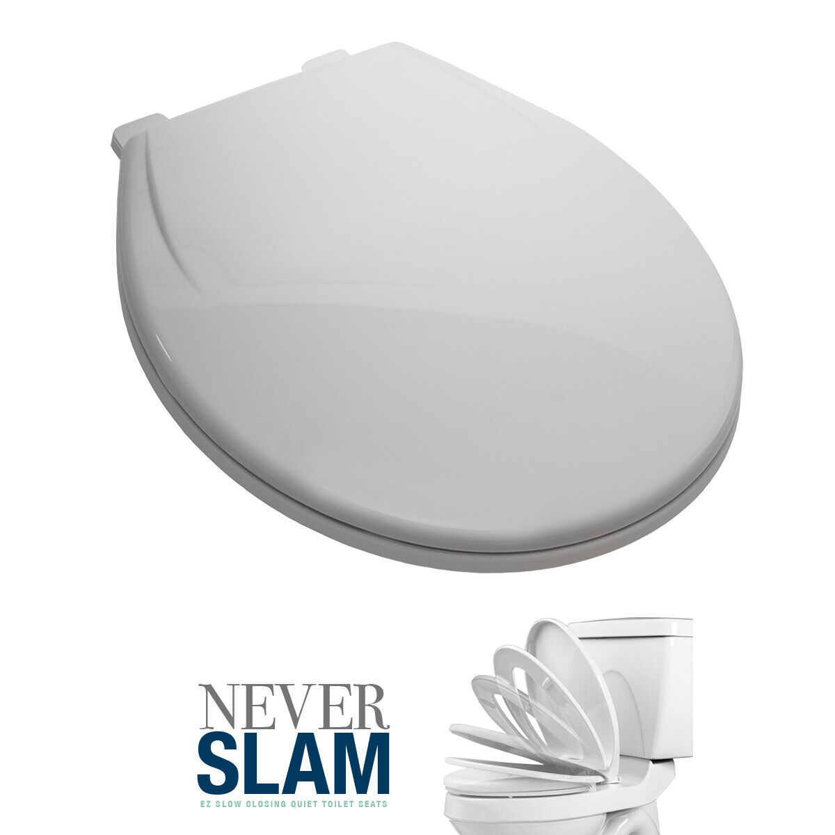 Premium Round Toilet Seat with Cover, White, Slow-Close, Fits All Round Toilets Bath