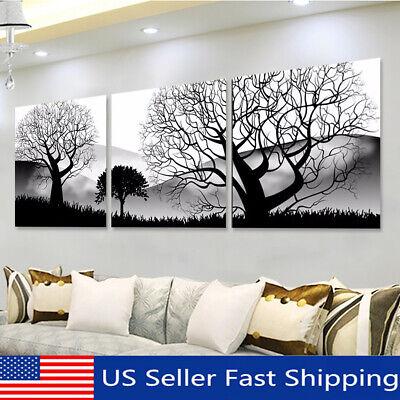 3Pcs Black & White Tree Landscape Oil Painting Canvas Art Pr