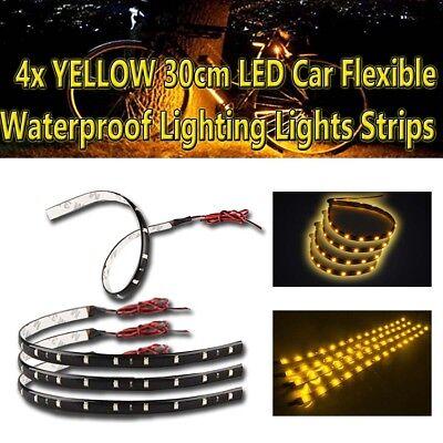 Zone Tech 30cm LED Car Flexible Waterproof Light Strip Yellow Amber (pack of 4)