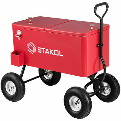 Outdoor 80QT Portable Rolling Party Wagon Cooler Drink Ice Chest Patio Cart Rolling Party Cooler