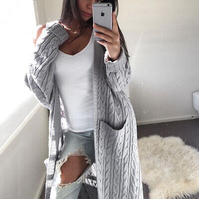 Women's Knitted Sweater Long Sleeve Cardigan Knitwear Jumper Outwear Coat Jacket