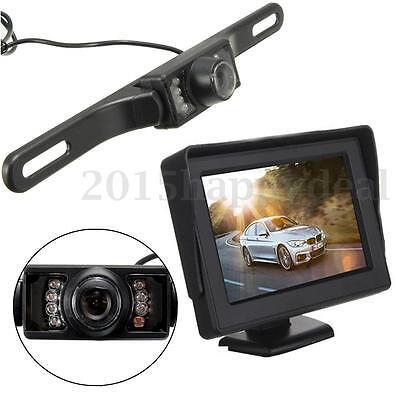 4.3''LCD FTT-LED Monitor+IR Wireless Rearview Camera Reversing Car Van Rear View