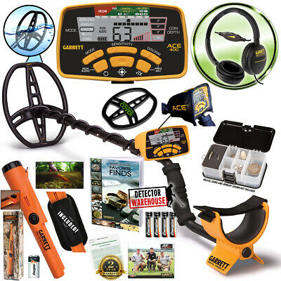Garrett ACE 400 Metal Detector with Headphones & Propointer AT, Free Accessories New Metal Detector