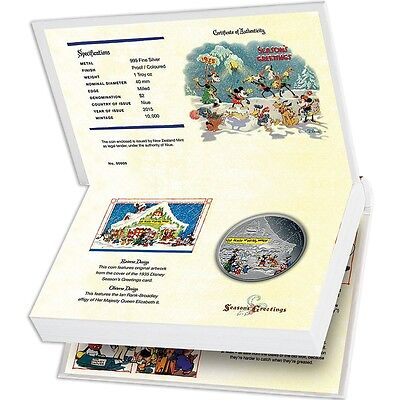Disney Silver Coin 1 oz  - Season's Greetings Classic 2015  Christmas Present