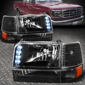[LED DRL] FOR 1992-1996 FORD F150/F250/F350 BLACK AMBER BUMPER HEADLIGHTS/LAMP