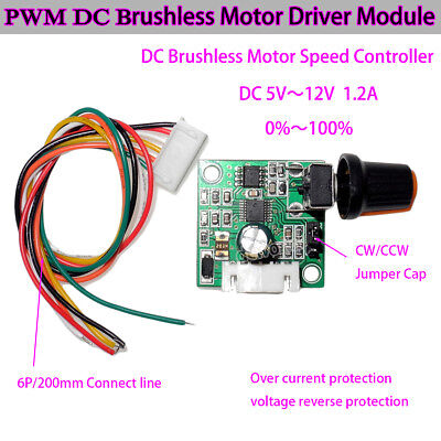 Dc 5v-15v 3-phase Dc Brushless Motor Driver Board Speed Controller Cw Ccw Swtich