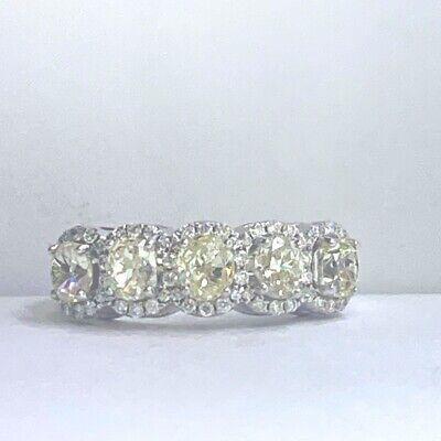 2.45CT Amortiguador Grisáceo Verdoso Diamante Amarillo Alianza 14k Oro Blanco