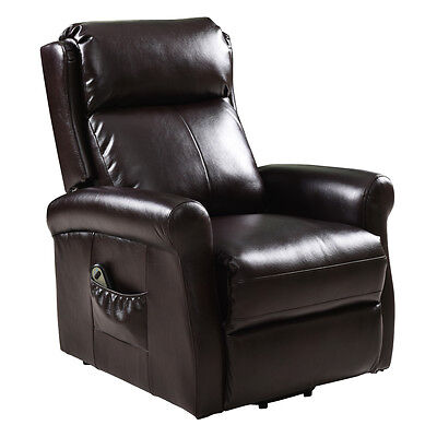 Electric Lift Chair Recliner Lazy Affordable Sofa Remote Control Seats Brown US