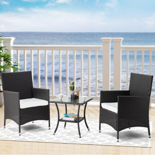 Garden Furniture - 3PCS Outdoor Garden Furniture Rattan Set Sofa W/Storage Table and White Cushion