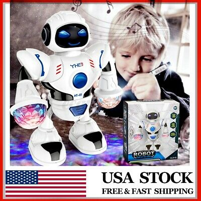 Toys for Kids Boys Electric Walking Dancing Music Robot LED Lights Birthday Gift