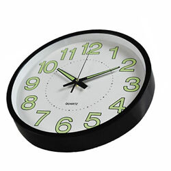 12'' Modern Luminous Large Quartz Wall Clock Non-ticking Glow In The Dark Silent