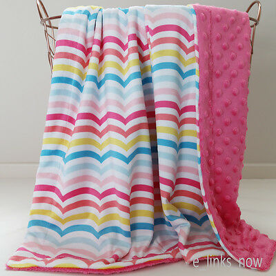 70x100cm Large Baby Minky Blanket Stroller  Cot Shower Gift Wavy Rainbow Pink for sale  Shipping to South Africa
