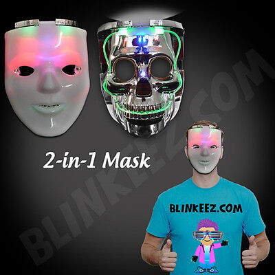 HALLOWEEN LIGHT UP JABBAWOCKEEZ Flashing Dual SKULL LED Mask -FREE SHIPPING! - Dual Halloween Costumes