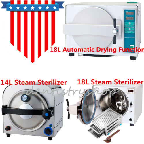 14L/18L Dental Autoclave Steam Sterilizer Medical Sterilization Lab Equipment SS