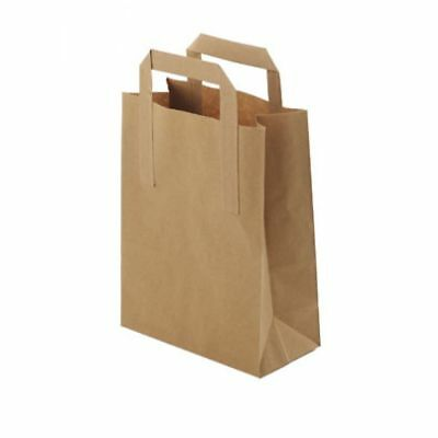 Paper Carrier Bags (250) Small Brown SOS Flat Handle Takeaway Paper Carrier Bag