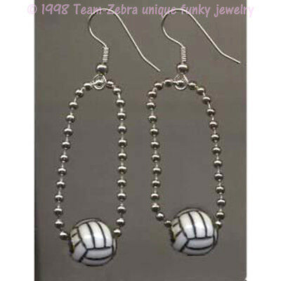 Volleyball Player Costume (Funky Beach VOLLEYBALL EARRINGS Ref Player Sports Charms Novelty Costume)
