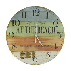 LARGE 23 Wood Clock- Life Is Good Welcome To the Beach-Huge Coastal Wall Decor
