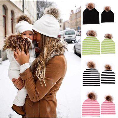 2PCS Winter Warm Cap Newborn Infant Toddle Women Mom Fur Pom Ball Baby Kids Hat - Infant Ball Caps