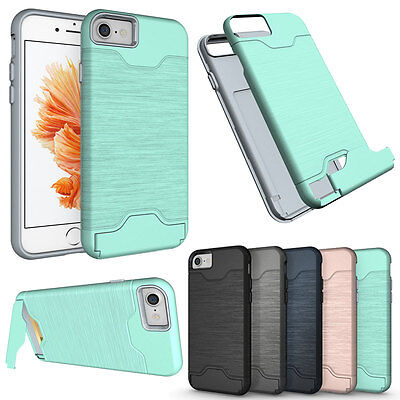 Built In Camera - Hybrid Card Pocket Built in Stand Camera Protection Case For iPhone 6 6S 7 Plus