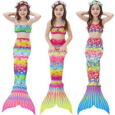 Mermaid Tail Swimmable Costume Swimsuit monofin for Women Kids Girls Swimming (Mermaid Costume For Kids)
