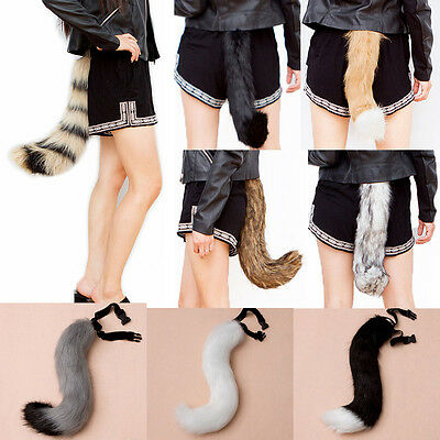 Halloween Faux Fur fox's Tail Unisex Cosplay Furry Wolf Dog Adjustable - Dog Halloween Costumes Wolf