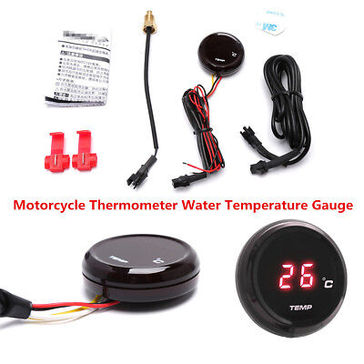 Round Red LED Digital Motorcycle Water Temp Temperature Gauge Meter Thermometer