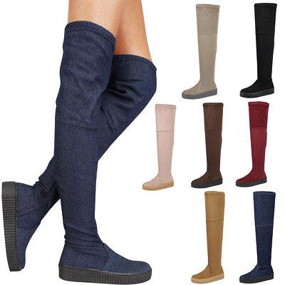 New Round Toe Over The Knee High Creeper Sneaker Boot Low Flat Platform Heel Zip