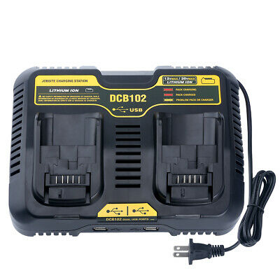 DCB102 Dual Battery Charger for DEWALT 12V-20Volt MAX Lithium DCB120 DCB200 US (Dewalt 12 Volt Lithium Battery)