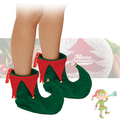 ADULT DELUXE ELF GREEN RED JESTER SHOE COVERS BOOTS CHRISTMAS FANCY DRESS OUTFIT