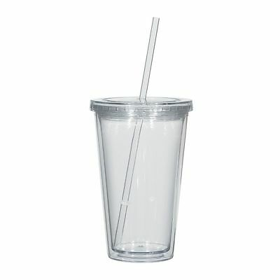 16oz Clear Double Wall Acrylic Tumbler Cup with Lid & Straw BPA-Free 10 Pack