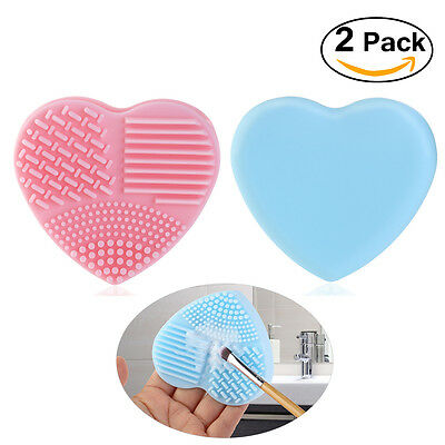 2x Silicone Makeup Brush Cleaner Glove Washing Scrubber Board Cleaning Hand Tool