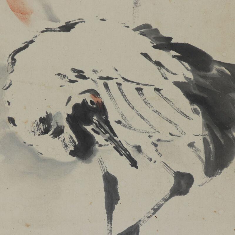 JAPANESE ART PAINTING CRANE HANGING SCROLL OLD PINE JAPAN ANTIQUE 907p