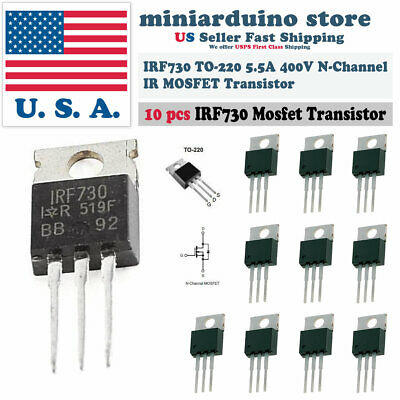 10pcs Irf730 Ir Power Mosfet N-channel 5.5a 400v Transistor