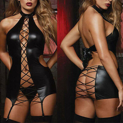 Women Lingerie Faux Leather Lace Up Backless Mini Dress G-string Set -