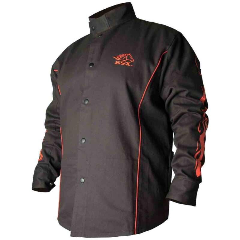 Black Stallion BX9C BSX Contoured FR Cotton Welding Jacket Black/Flames X-LG