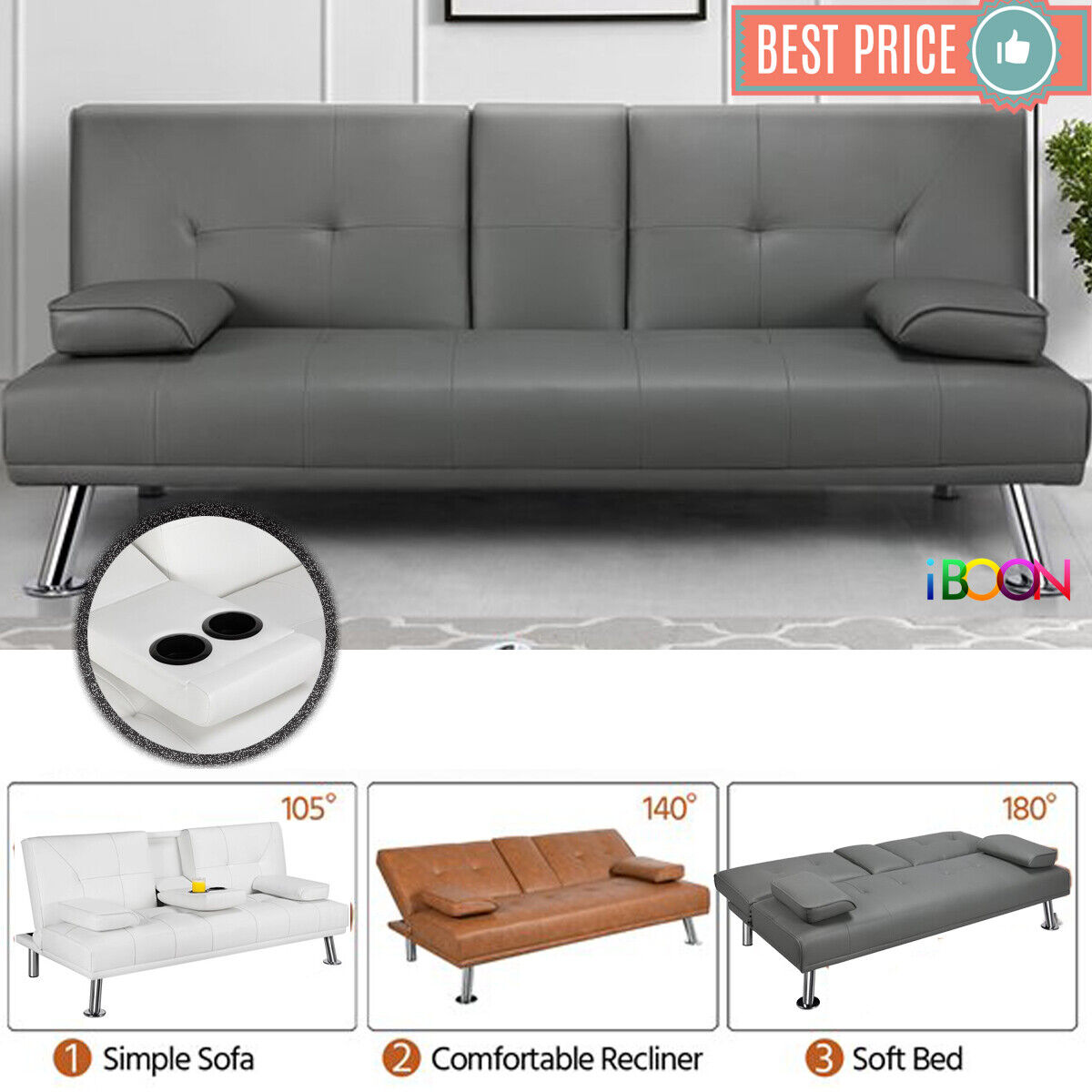 Picture of: Coaster Black Faux Leather Sofa Bed 300304 For Sale Online Ebay