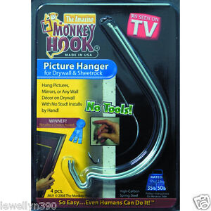 the amazing monkey hook picture hanger for drywall 4pk. Black Bedroom Furniture Sets. Home Design Ideas