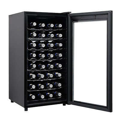 32 Bottles Wine Cooler Fridge Cellar Storage Holder Chiller Bar Rack Cabinet