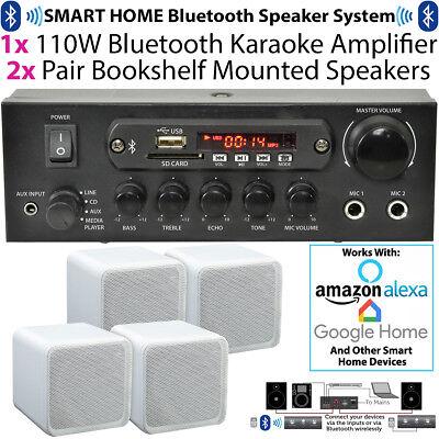 110W Bluetooth Amplifier & 4x 80W White Shelf Speakers–Compact Wireless HiFi Kit