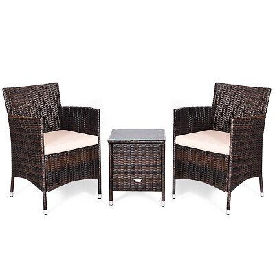 Garden Furniture - 3 PCS PE Rattan Wicker Furniture Sets Backyard Chairs Coffee Table Garden Beige