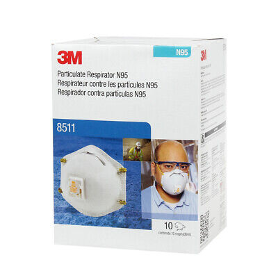 3M 8511 N95 Particulate Respirator W/Exhalation Valve 10 Masks/Box, EXP. 12/2025