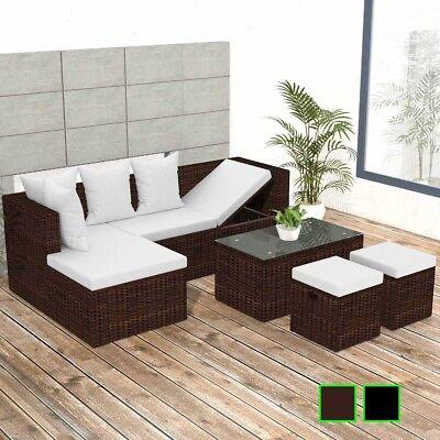 vidaXL Garten-Ecksofagarnitur Gartenmöbel Sofa 12-tlg. Poly Rattan Schwarz/Braun