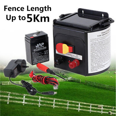 5km Solar Power Electric Garden Farm Fence Fencing Energizer Charger Controller