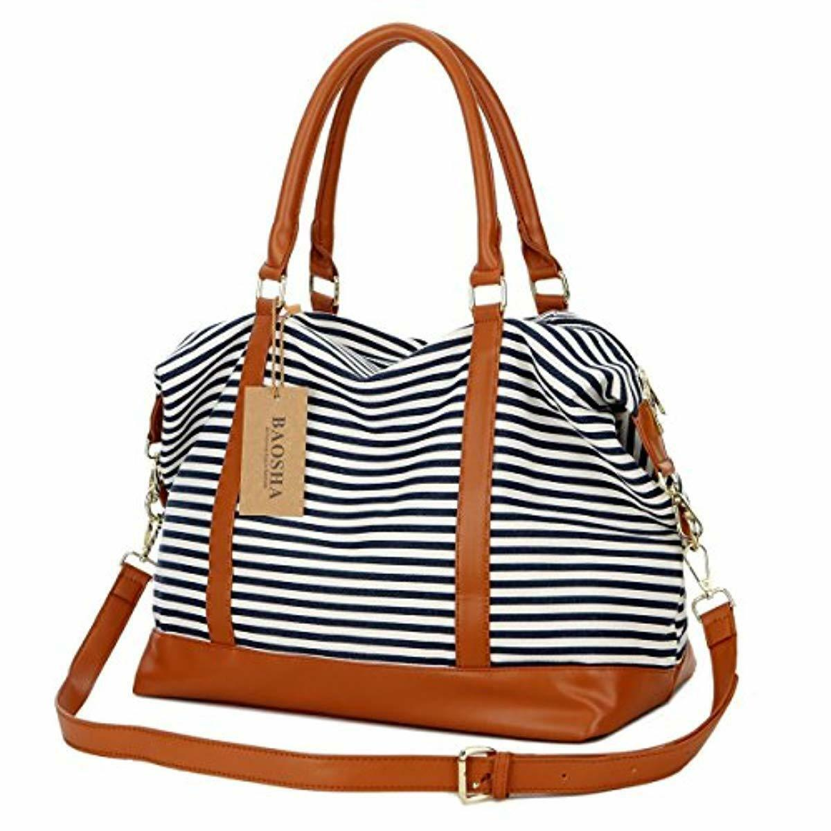 Women Canvas Travel Weekender Bag Overnight Carry-on Duffel